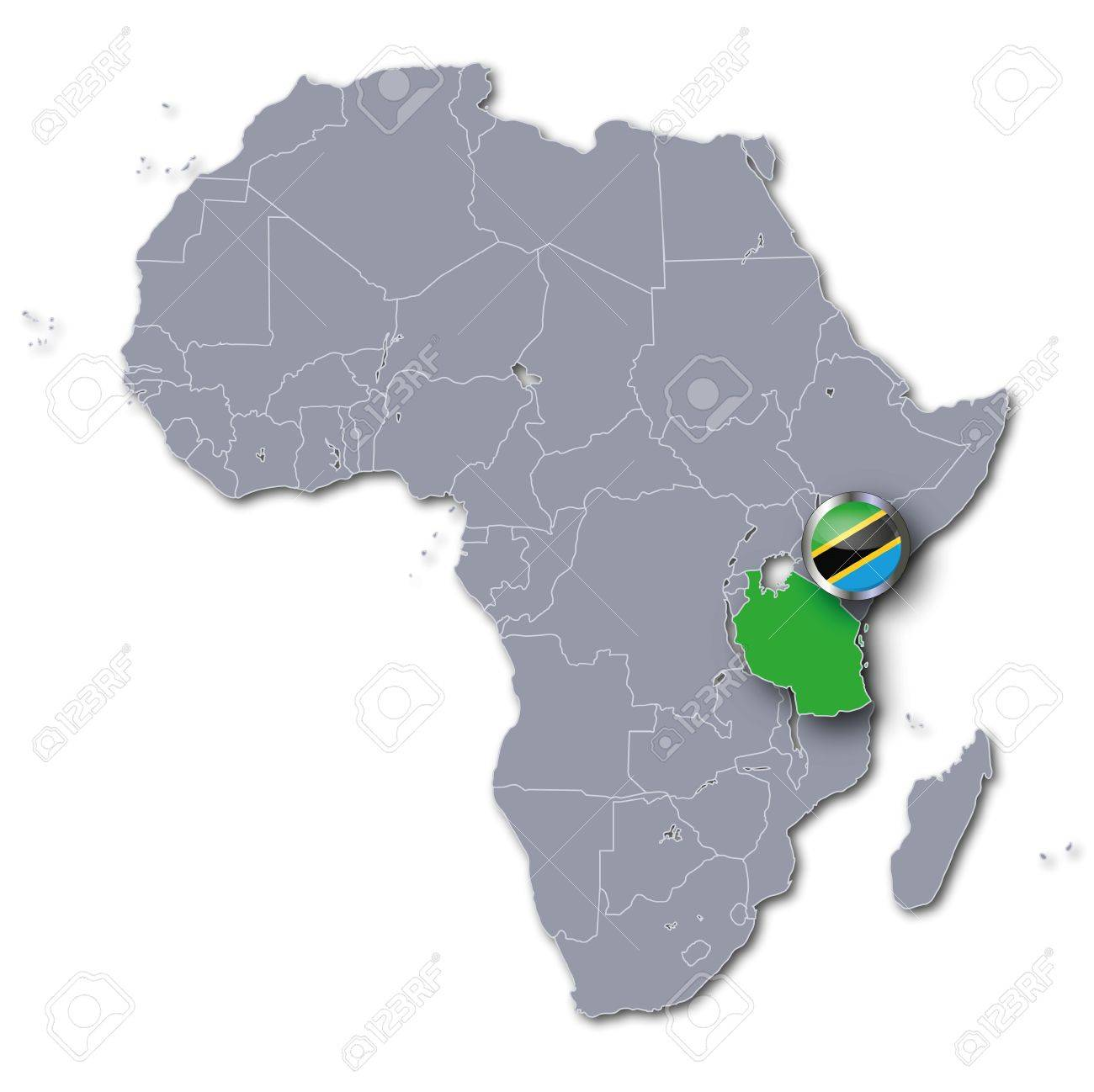 Image of: Africa Map With Tanzania Stock Photo Picture And Royalty Free Image Image 20723487