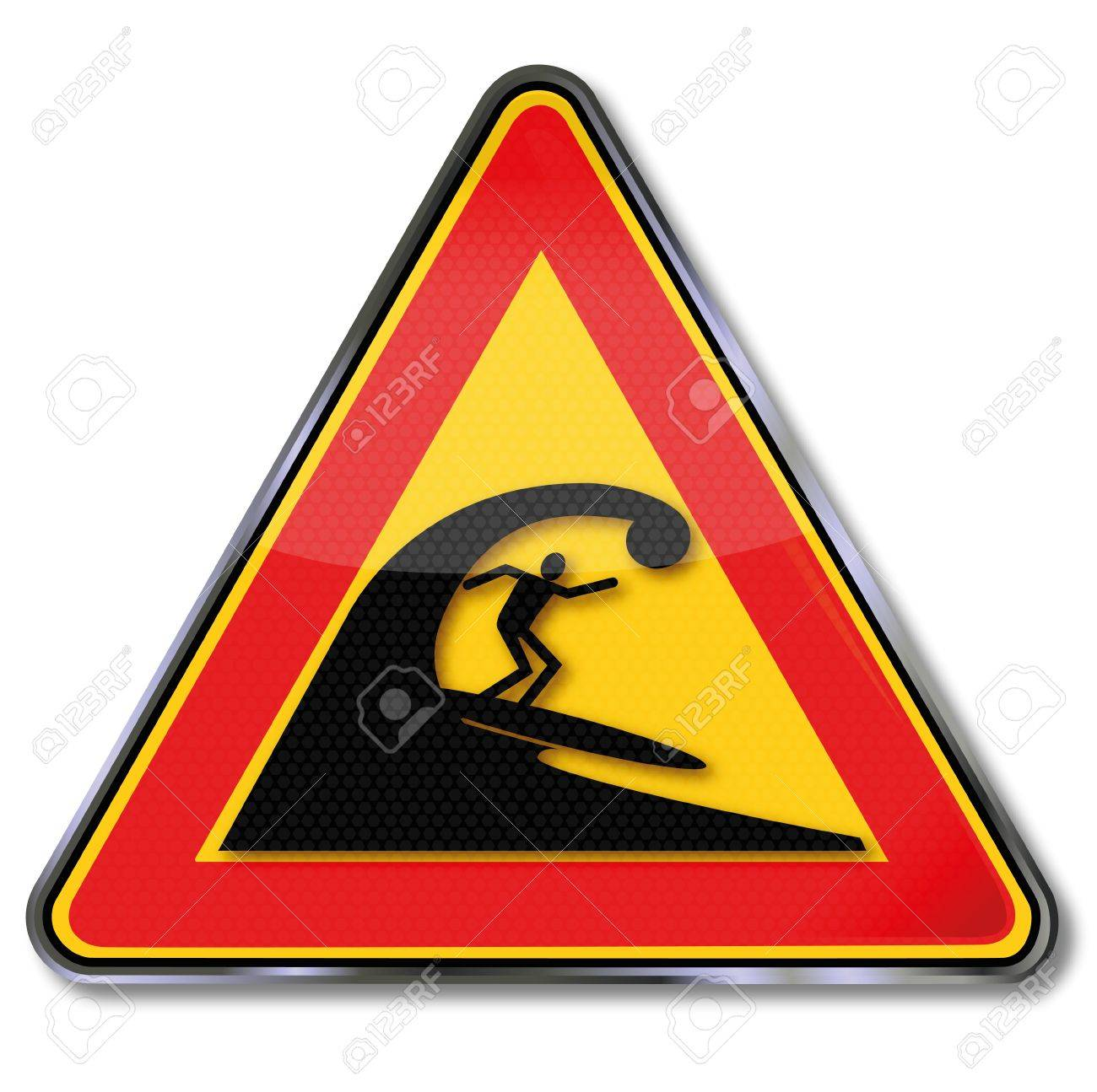 Sign surfers and very high waves Stock Vector - 20917594