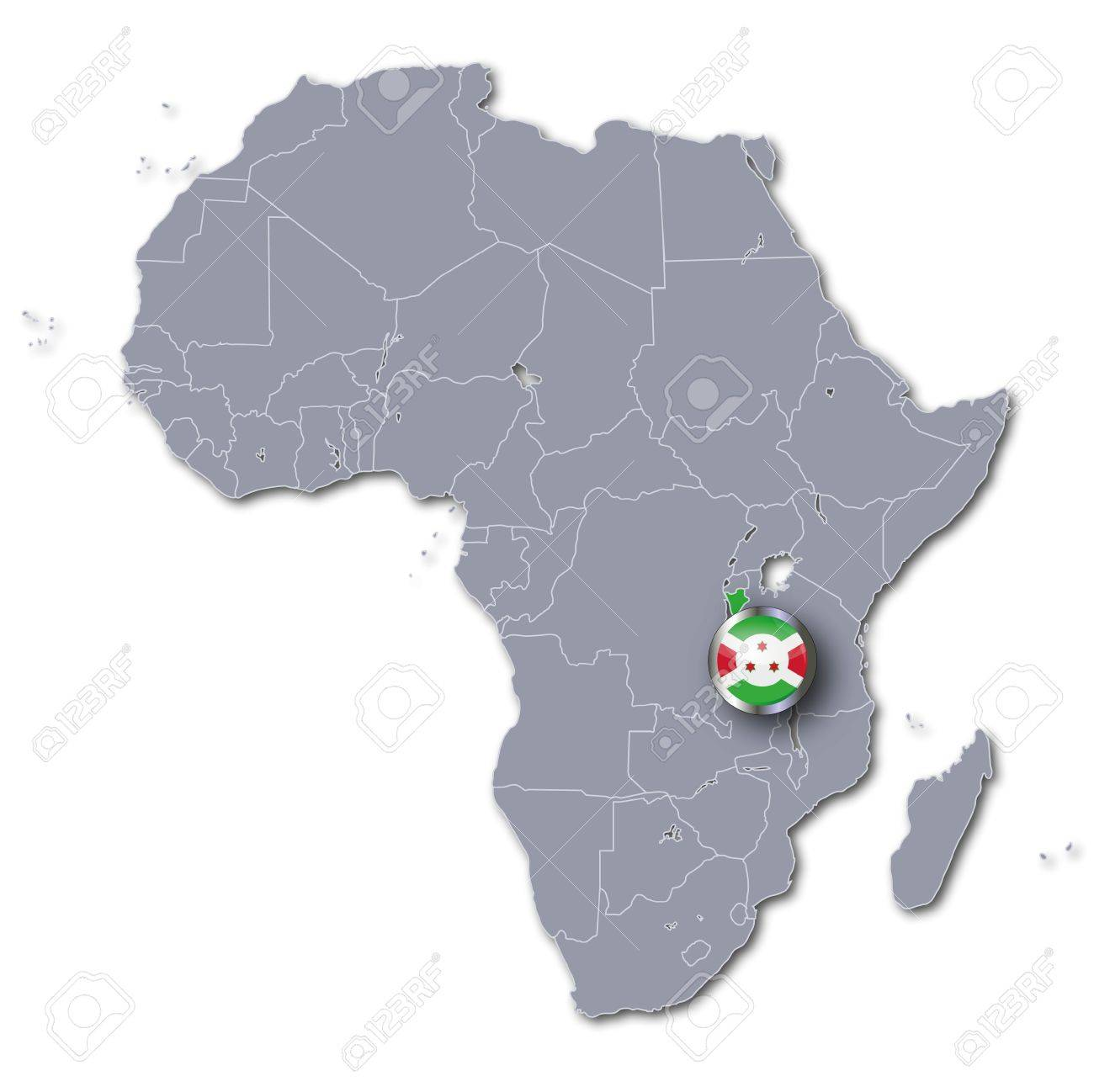 Africa Map With Burundi Stock Photo Picture And Royalty Free Image
