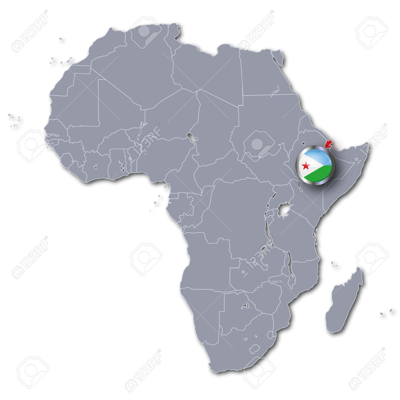 Djibouti On Africa Map.Africa Map With Djibouti Stock Photo Picture And Royalty Free Image