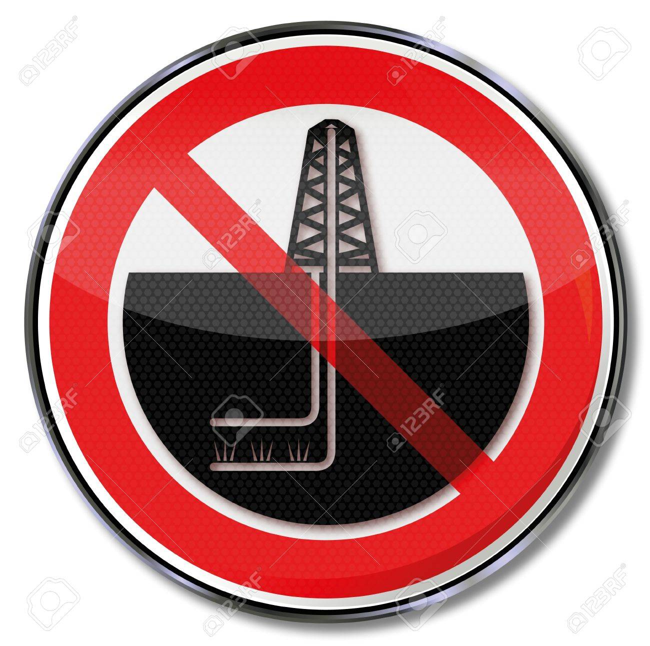 Prohibition sign for rigs and fracking Stock Vector - 21919137