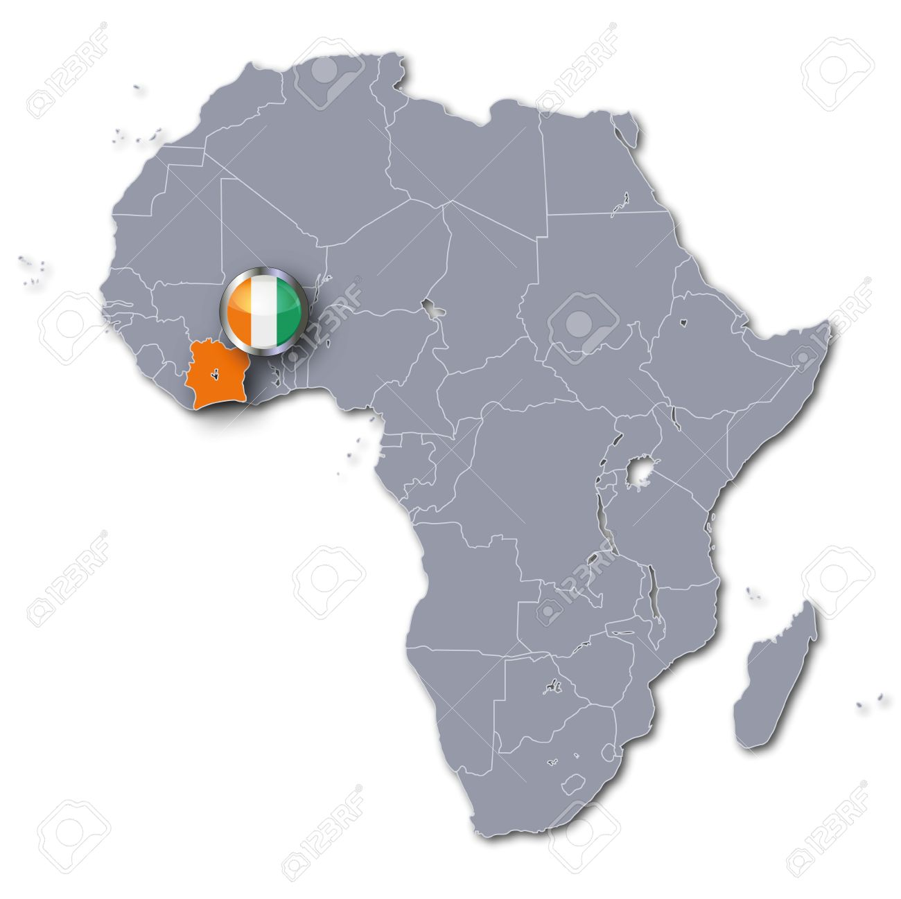Button Africa Map With Ivory Coast Stock Photo Picture And - Ivory coast map of africa