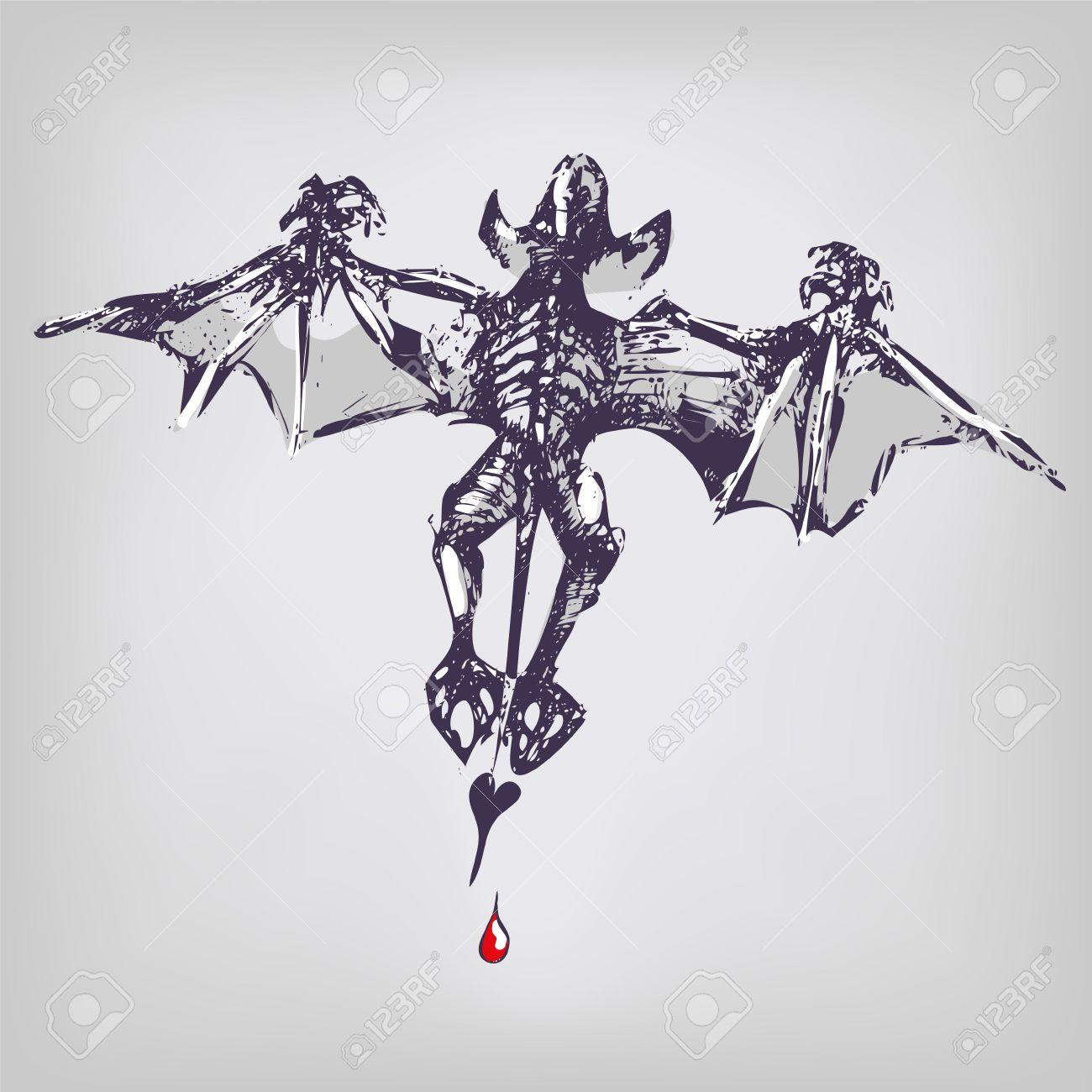 Drawing vampire and bat Stock Vector - 22374770