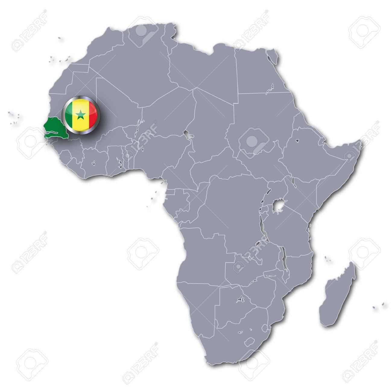 Senegal On Africa Map.Africa Map With Senegal Stock Photo Picture And Royalty Free Image