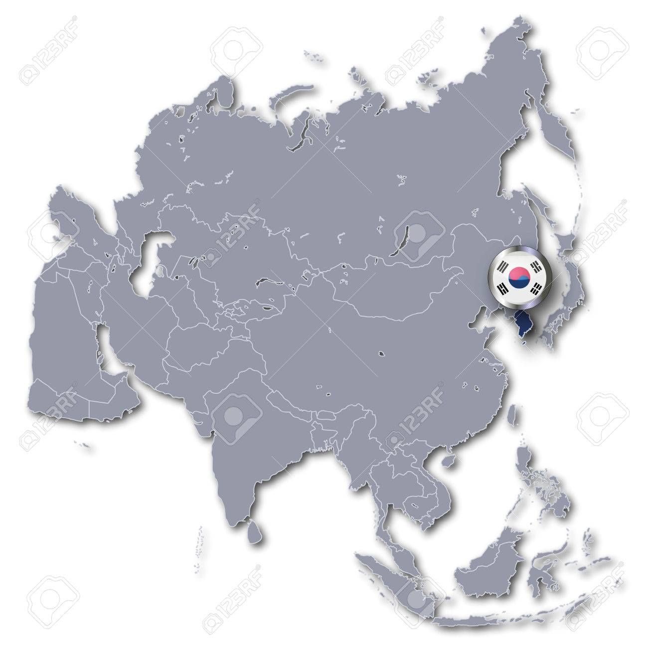 Korea Asia Map.Asia Map With South Korea Stock Photo Picture And Royalty Free