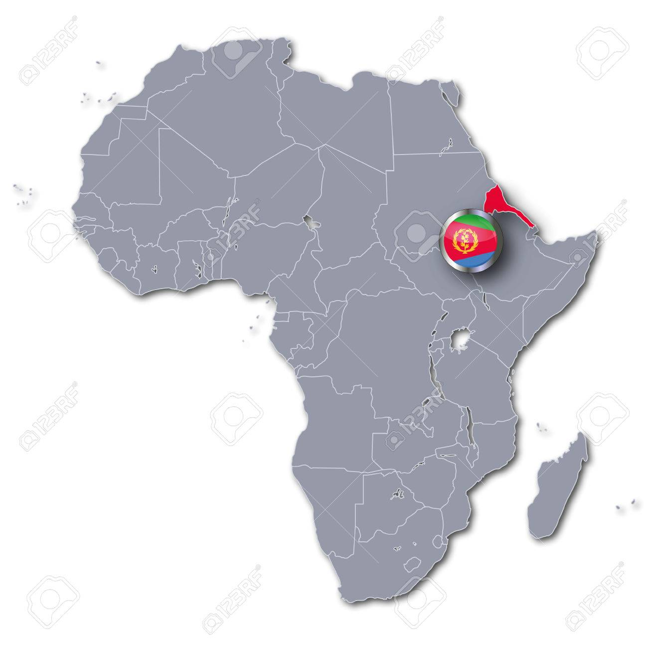 Africa Map With Eritrea Stock Photo, Picture And Royalty Free