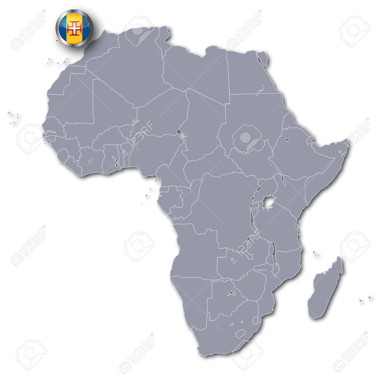 Africa Map With Madeira Stock Photo, Picture And Royalty Free
