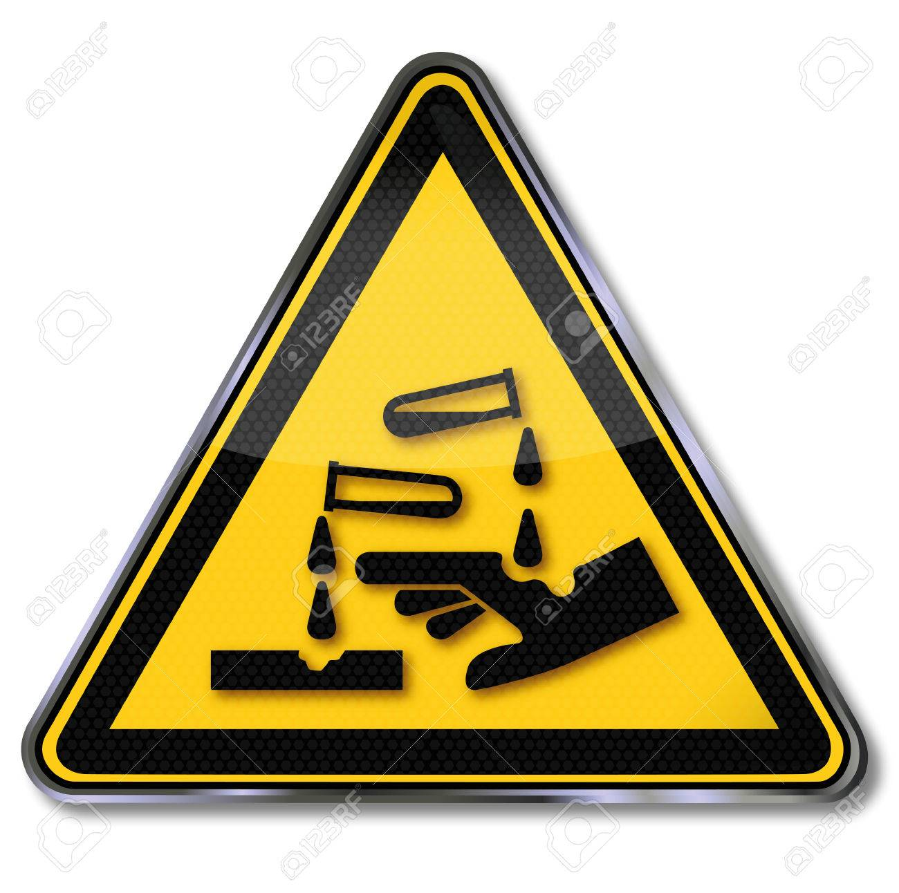 Warning sign corrosive substances - 25126628