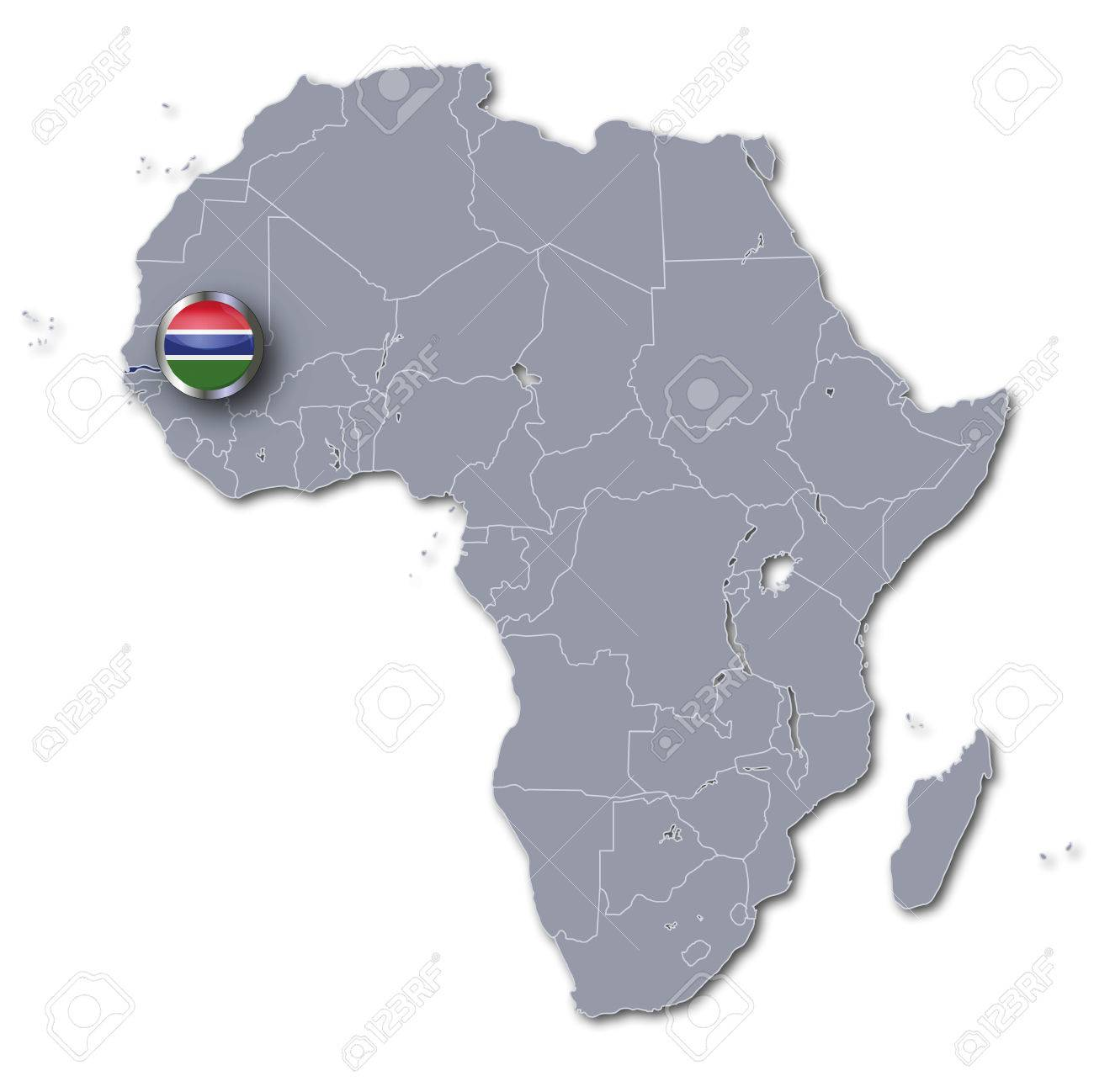 Gambia On Africa Map.Africa Map With Gambia Stock Photo Picture And Royalty Free Image