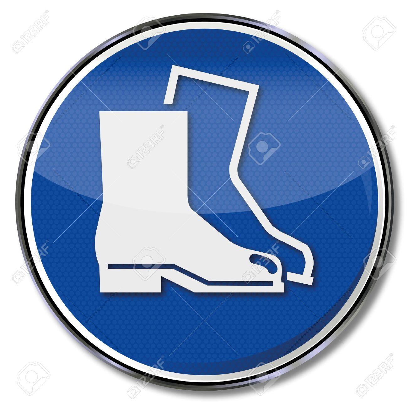 Mandatory sign use safety shoes - 27334659