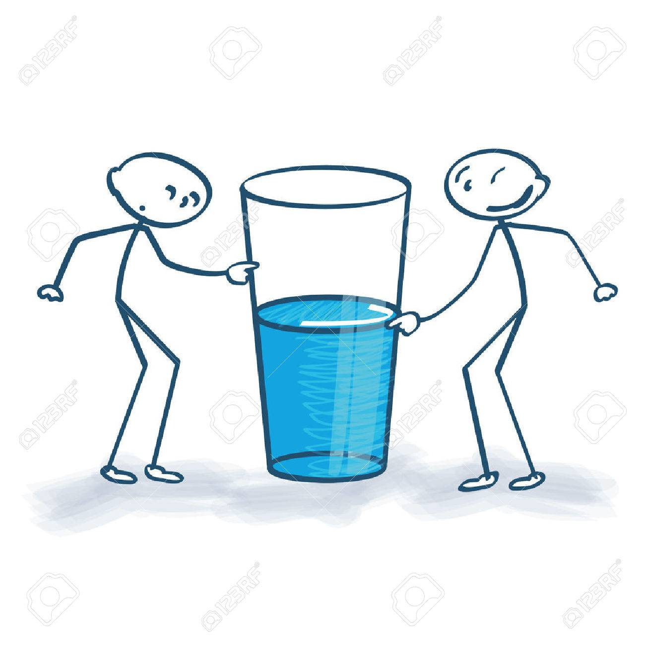 Stick figures with the glass is half full or half empty - 32550675