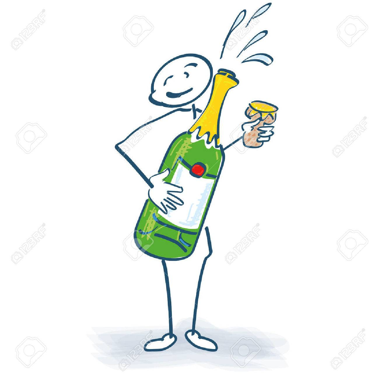 Stick figure with champagne bottle - 34315839