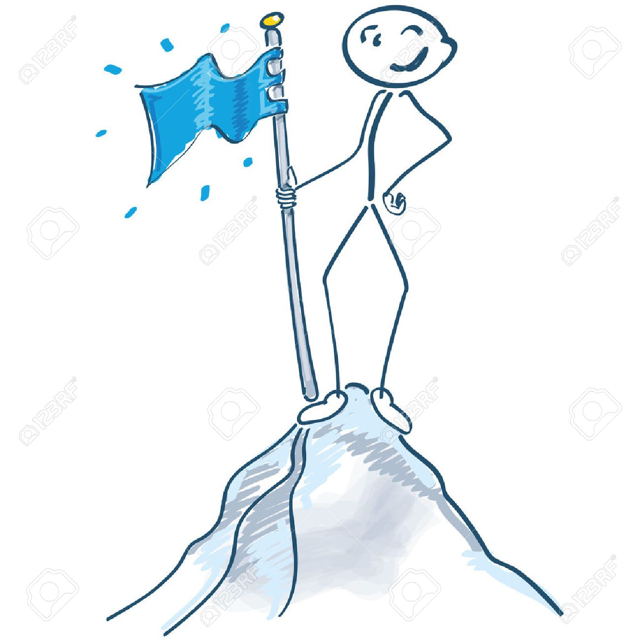Stick figure with flag on a mountain top - 39265888