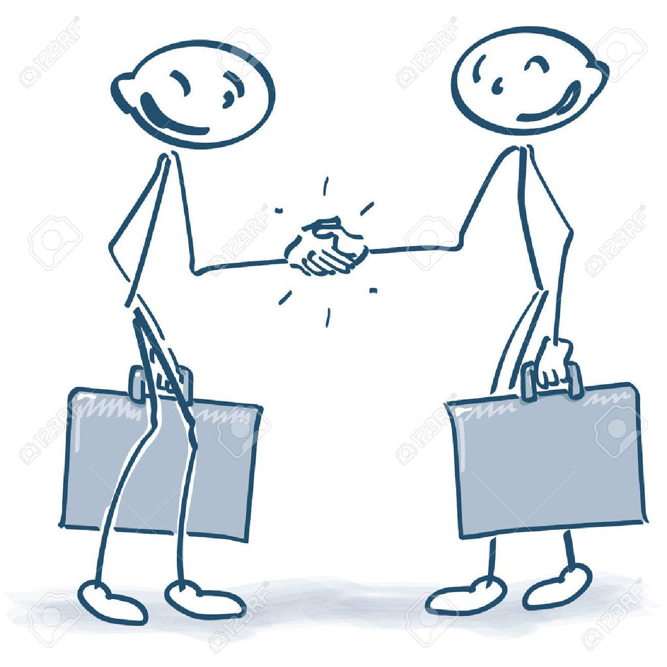 Stick Figures with suitcases when shaking hands - 39661842