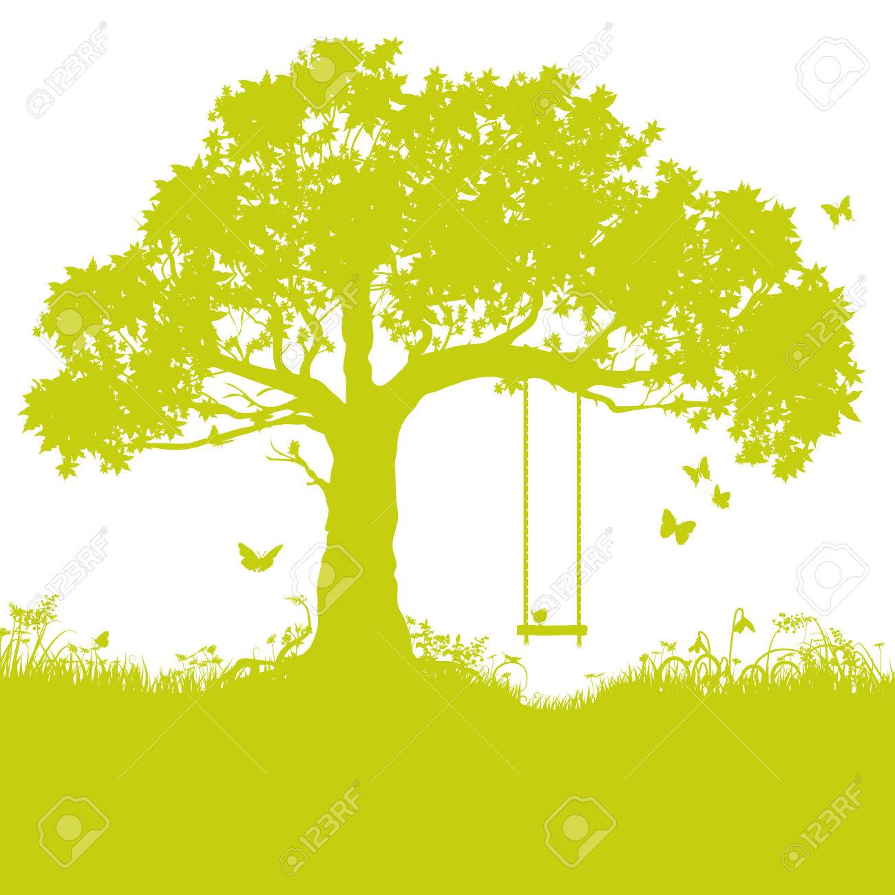 Swing in tree and childhood memory - 40236457