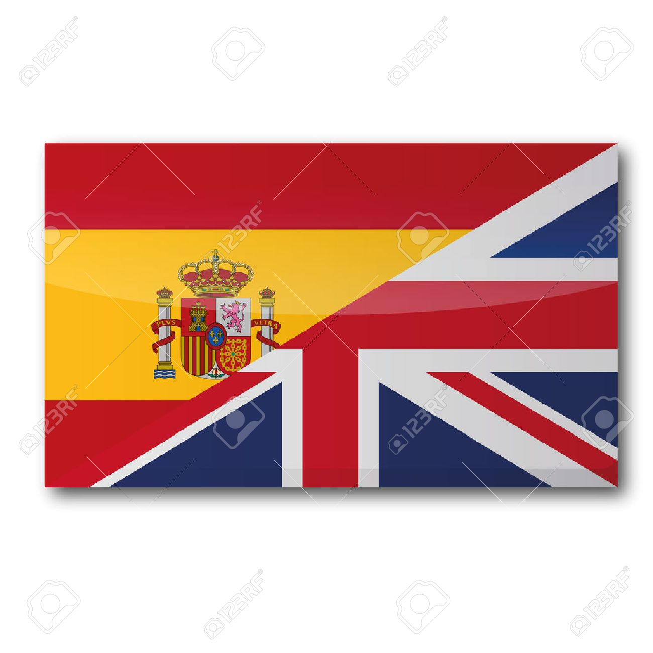 Spanish to english - Flag With A Translation In English And Spanish Stock Vector 47653102
