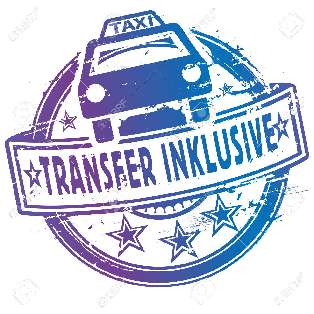 Rubber stamp with taxi and shuttle inclusive