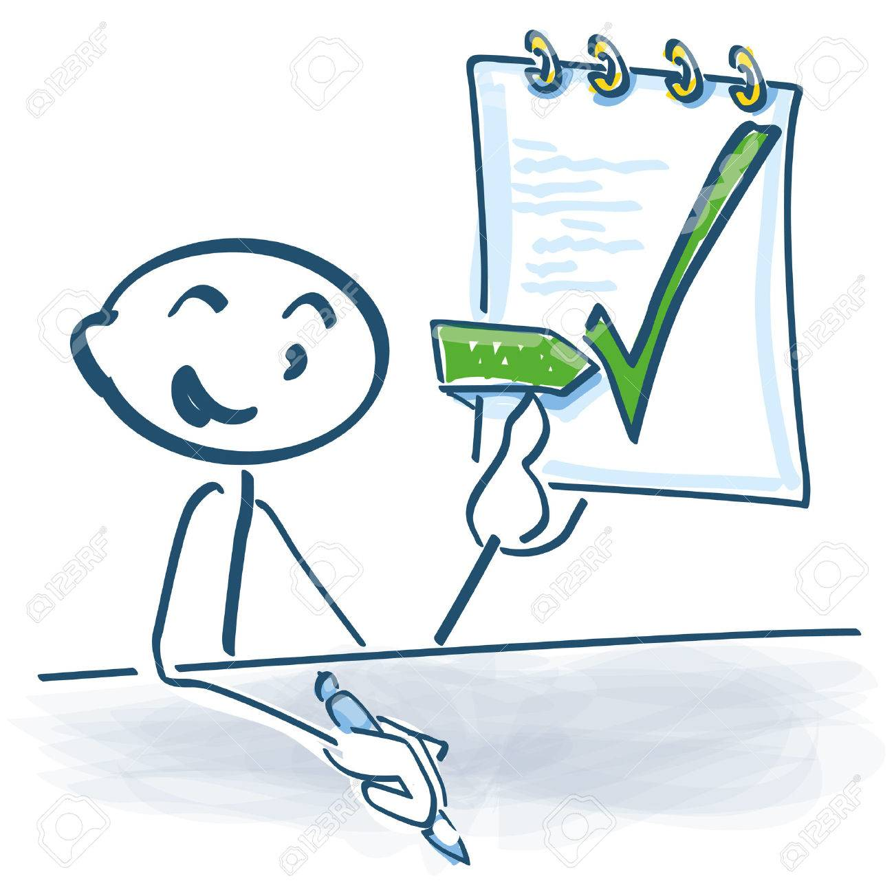 Stick figure has completed and signed the work contract - 56719804