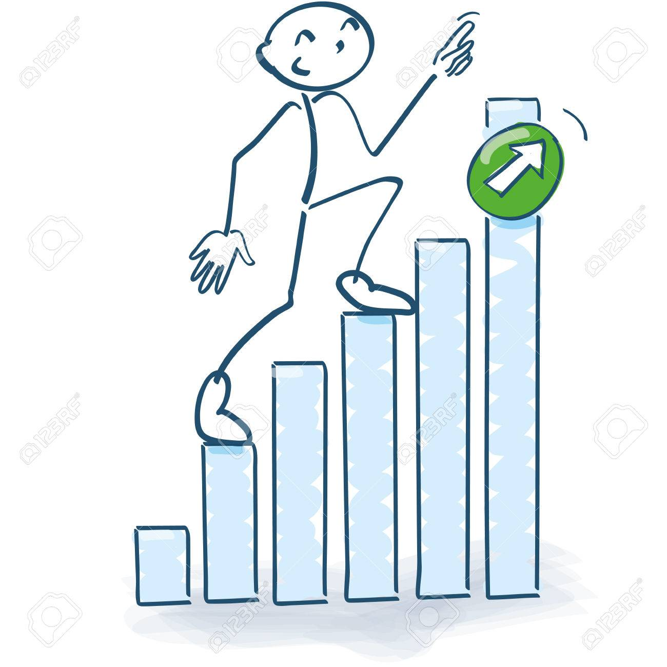 stick figure going up the bar graph upwards royalty free cliparts