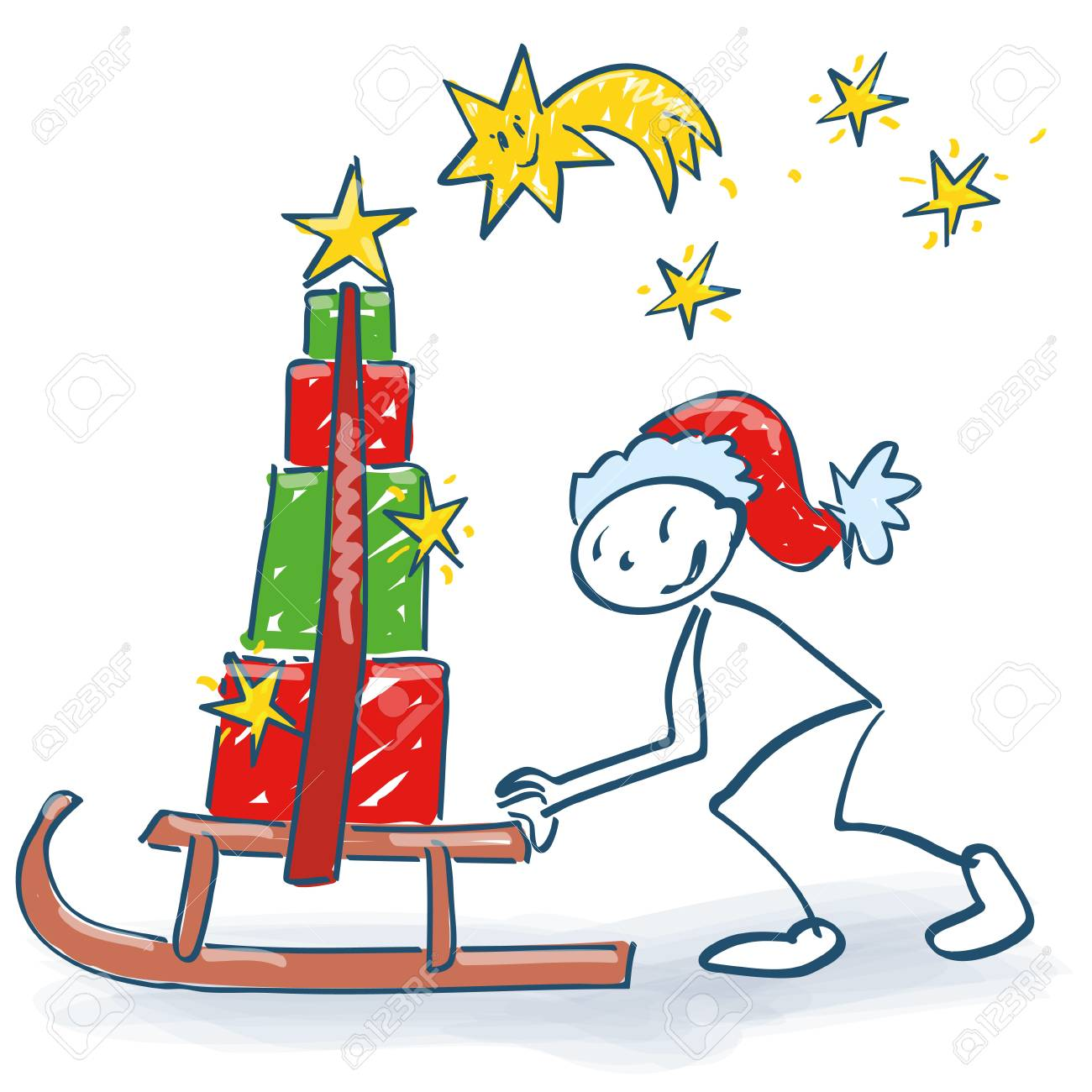 stick figure as santa with a sleigh slides many christmas packages