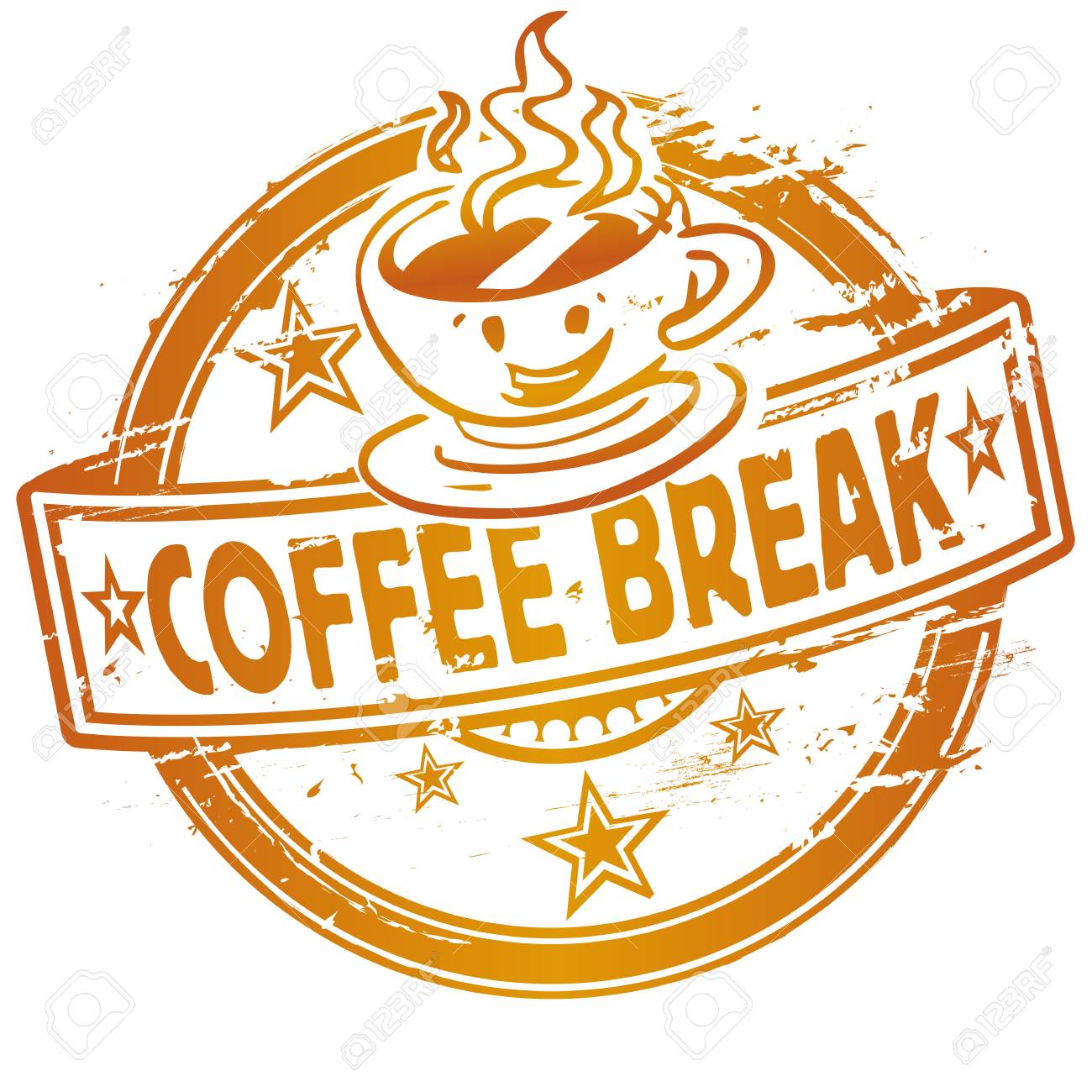 Rubber stamp with a coffee break - 124755290