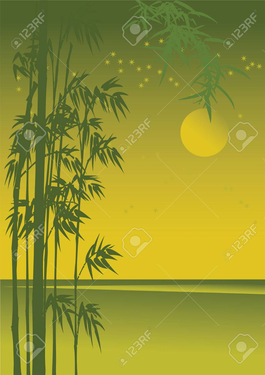 Asian night landscape with golden moonlight. Stock Vector - 10905549