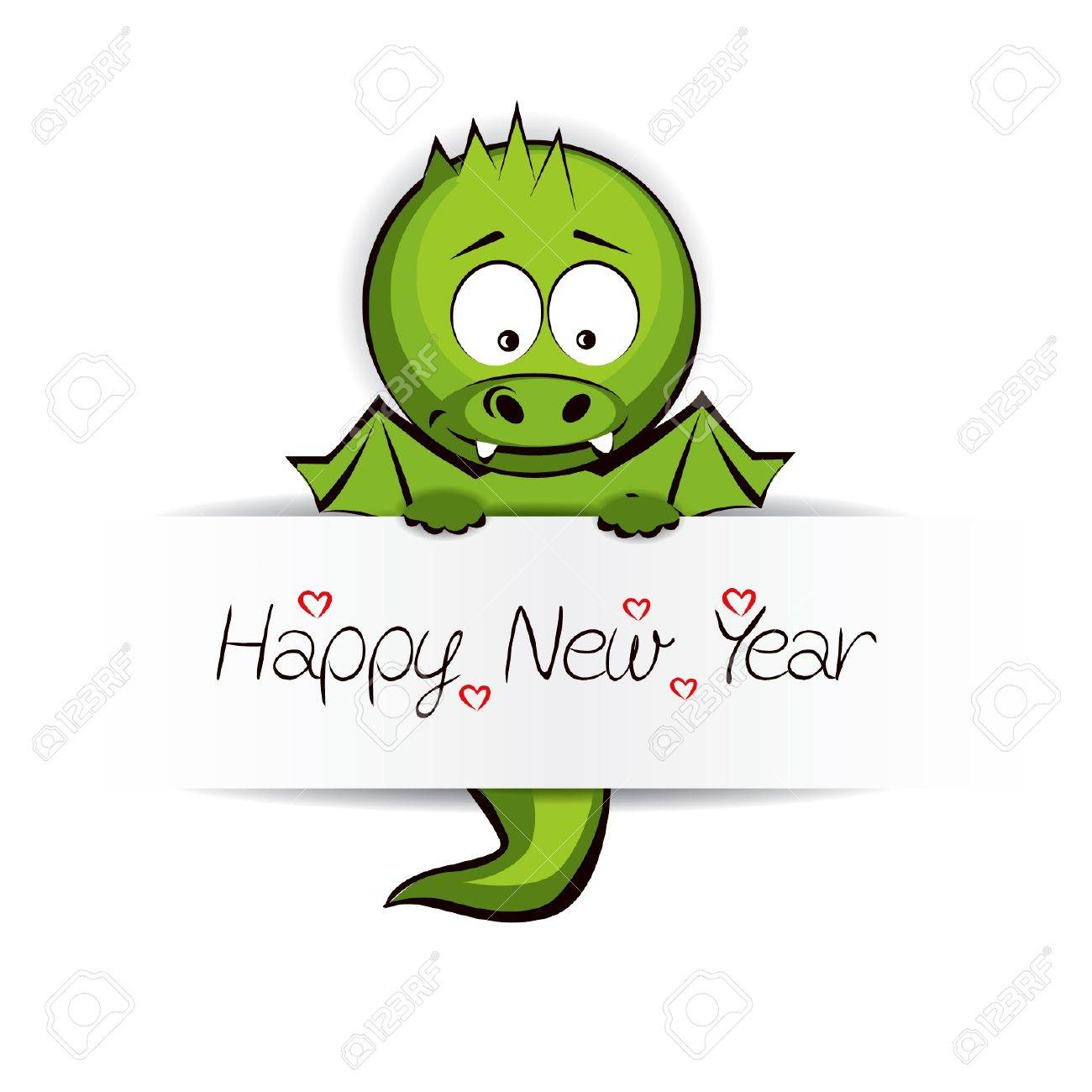 Cute Baby Dragon with message Happy New Year Stock Vector - 10905553
