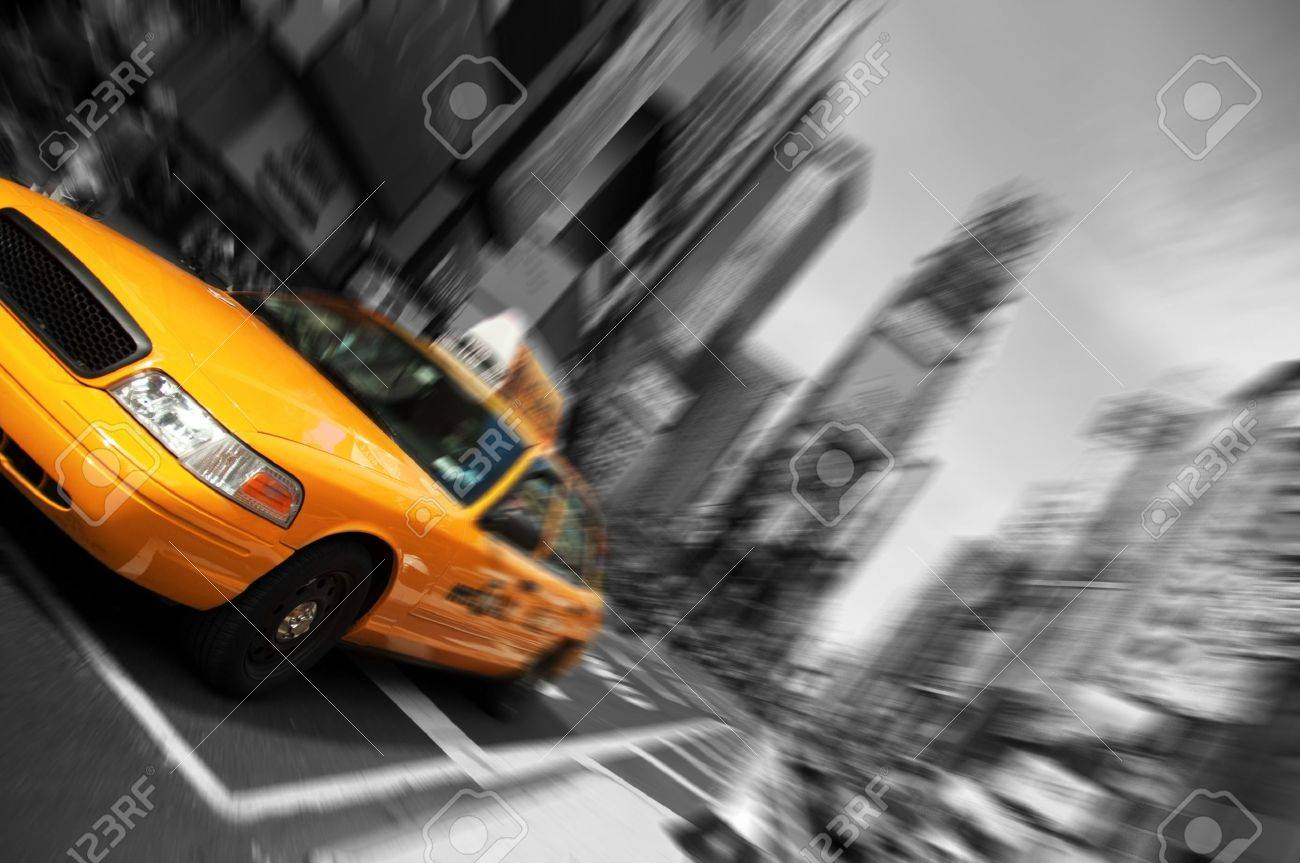 Photo New York City Taxi, Blur focus motion, Times Square Stock Photo - 7522060