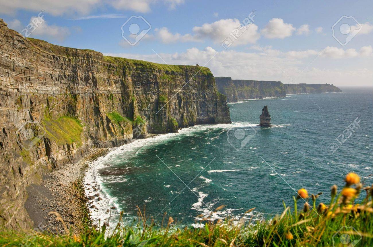 famous cliffs of moher, castle tower, west coast of ireland - 7536145
