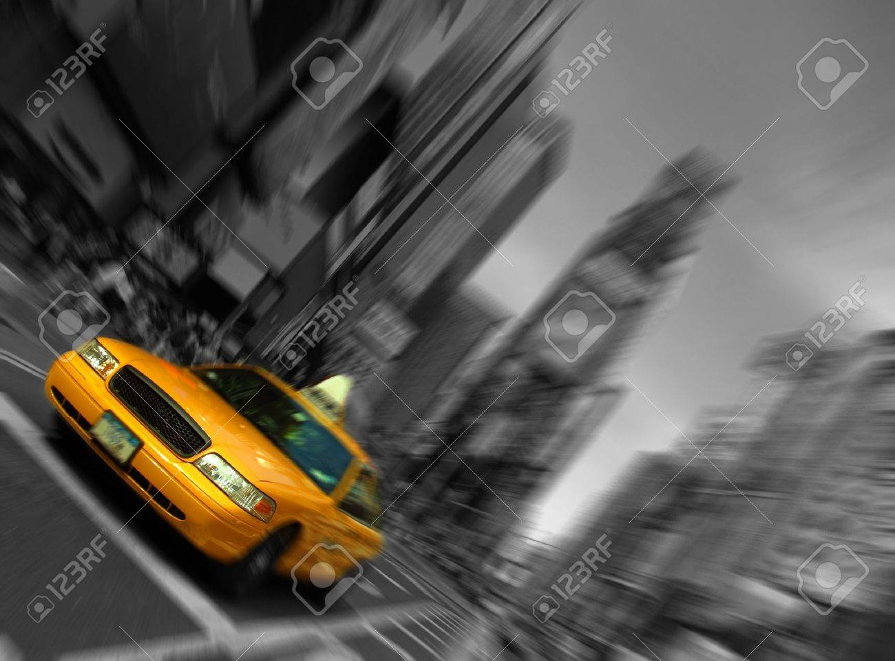 new york city, times square, taxi focus motion blur - 13368665
