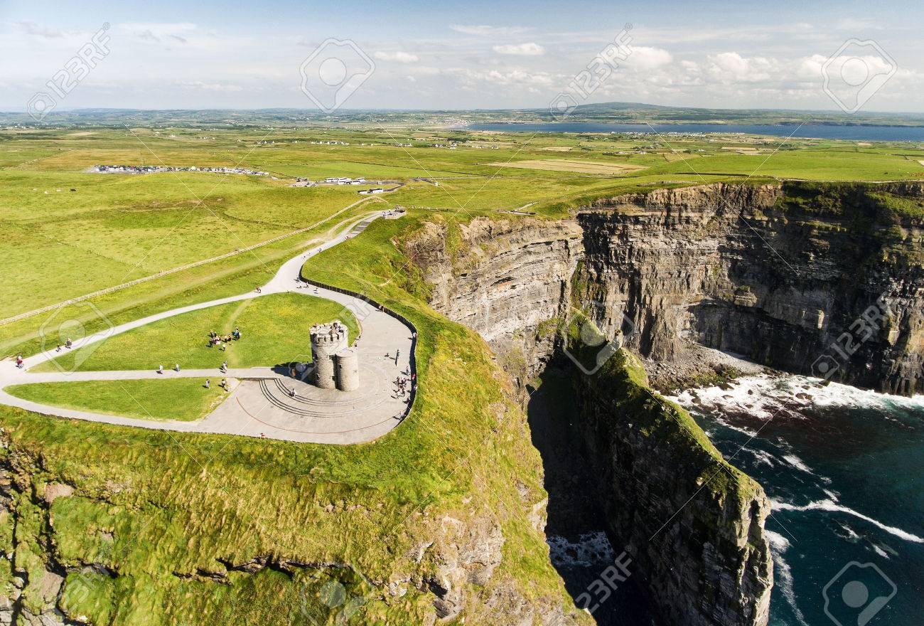 World famous birds eye aerial drone view of the Cliffs of Moher in County Clare, Ireland. Beautiful Irish Countryside Landscape on the Wild Atlantic Way route. - 81241559