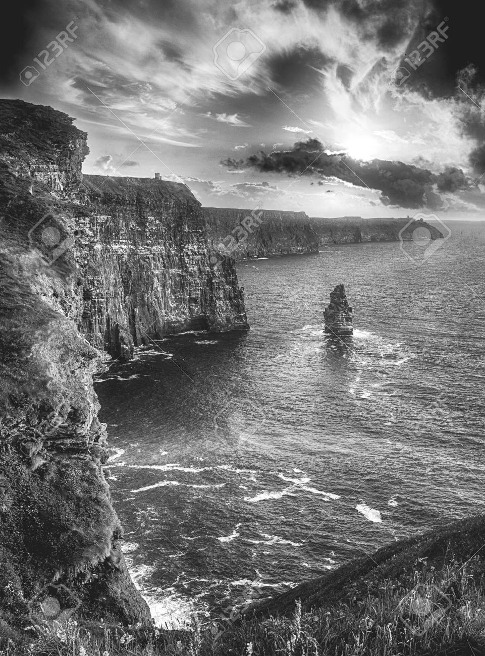 Epic black and white photograph of the world famous cliffs of moher in county clare