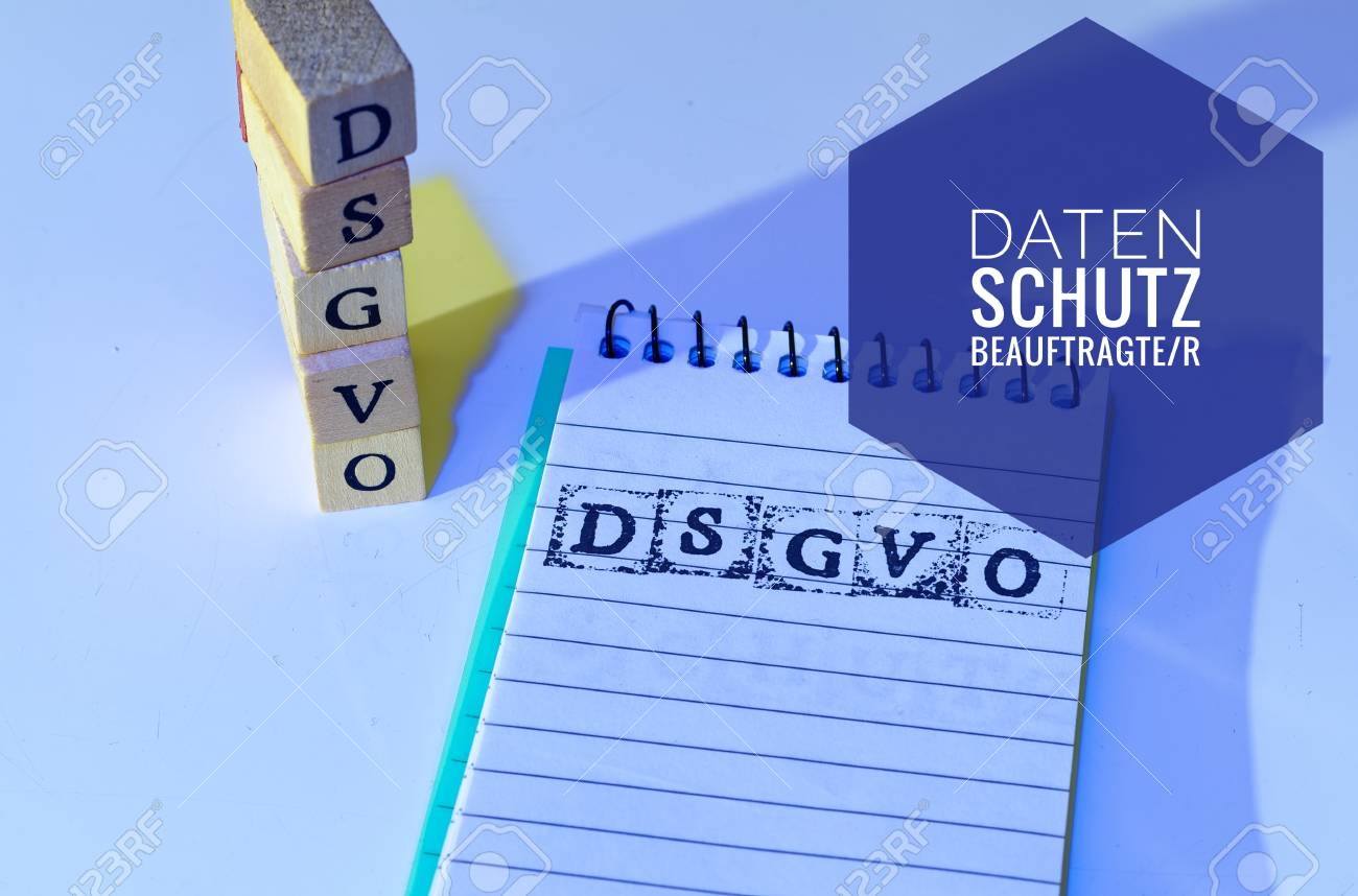 Block and blocks labeled DSGVO EU (DSGVO, Datenschutzbeauftragter) in English GDPR (General Data Protection Regulation, data protection commissioner) for the introduction of the DSGVO in the EU on 25.05.2018 - 97237309