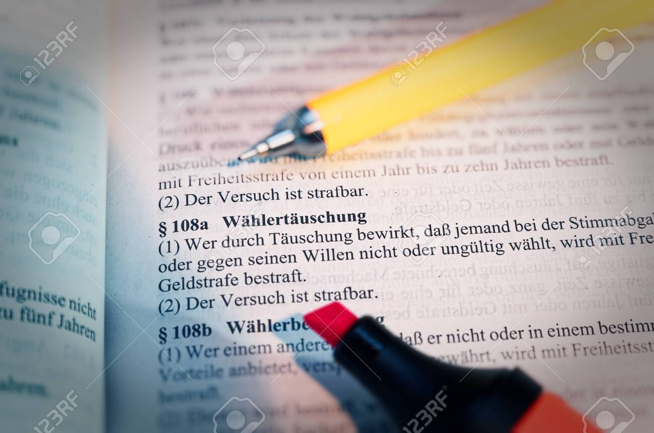 Legal text with § 108a StGB German law Wählertäuschung in English Voter deception with pen and highlighter - 142834832