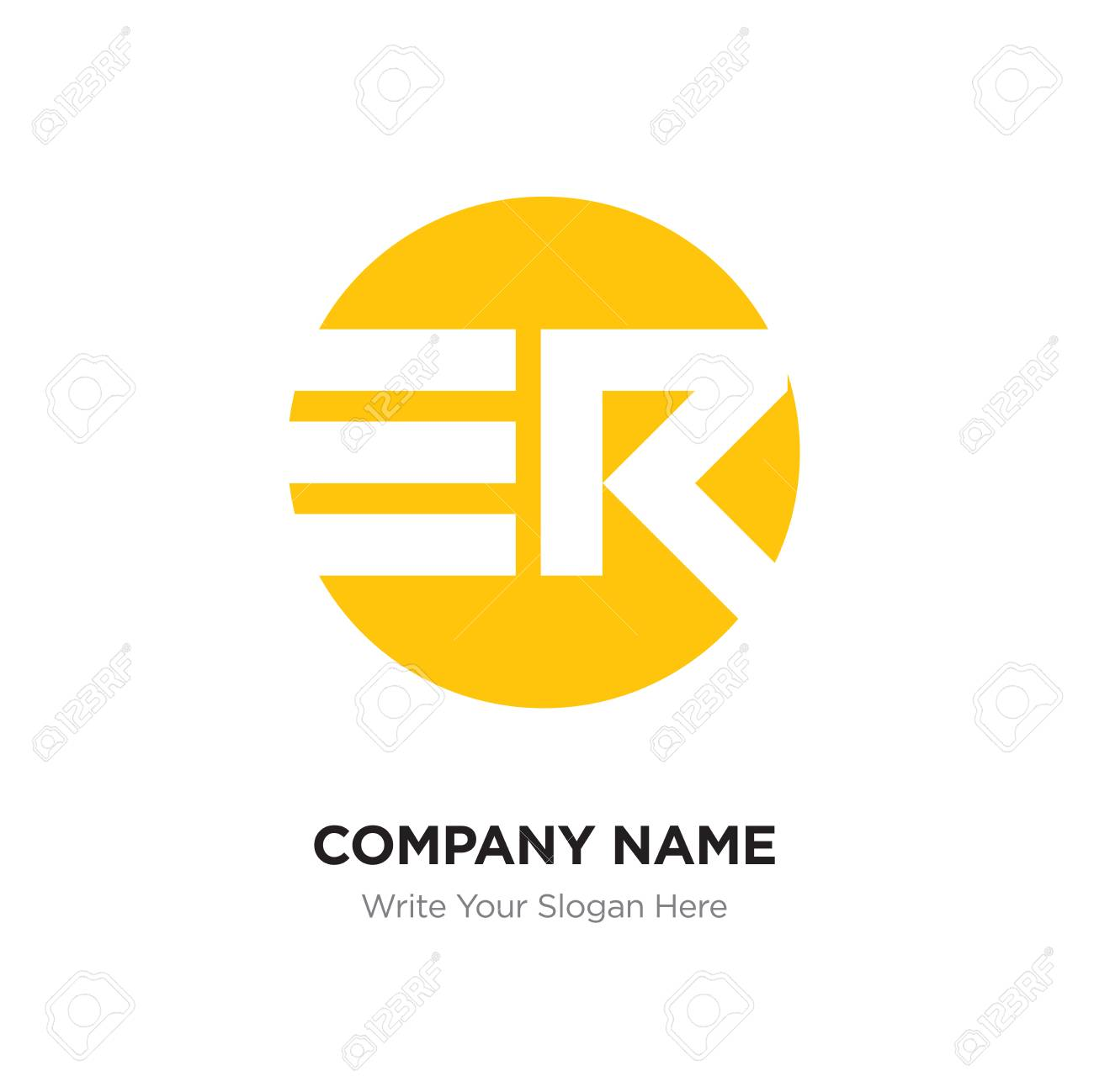 Abstract Letter Er Re Logo Design Template Yellow Alphabet Initial