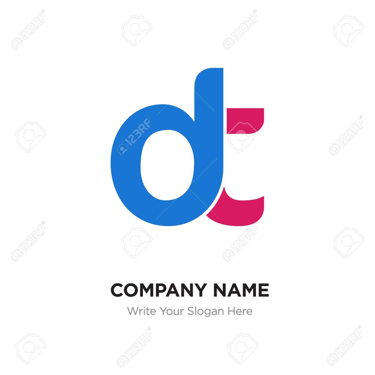 Abstract letter dt,dt logo design template, blue & red Alphabet