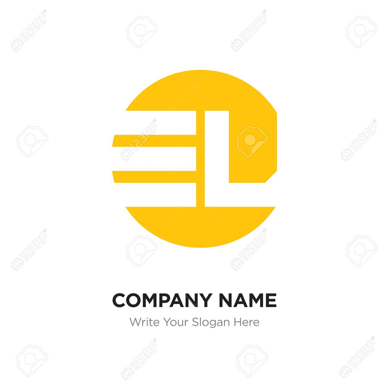 abstract letter el le logo design template yellow alphabet initial