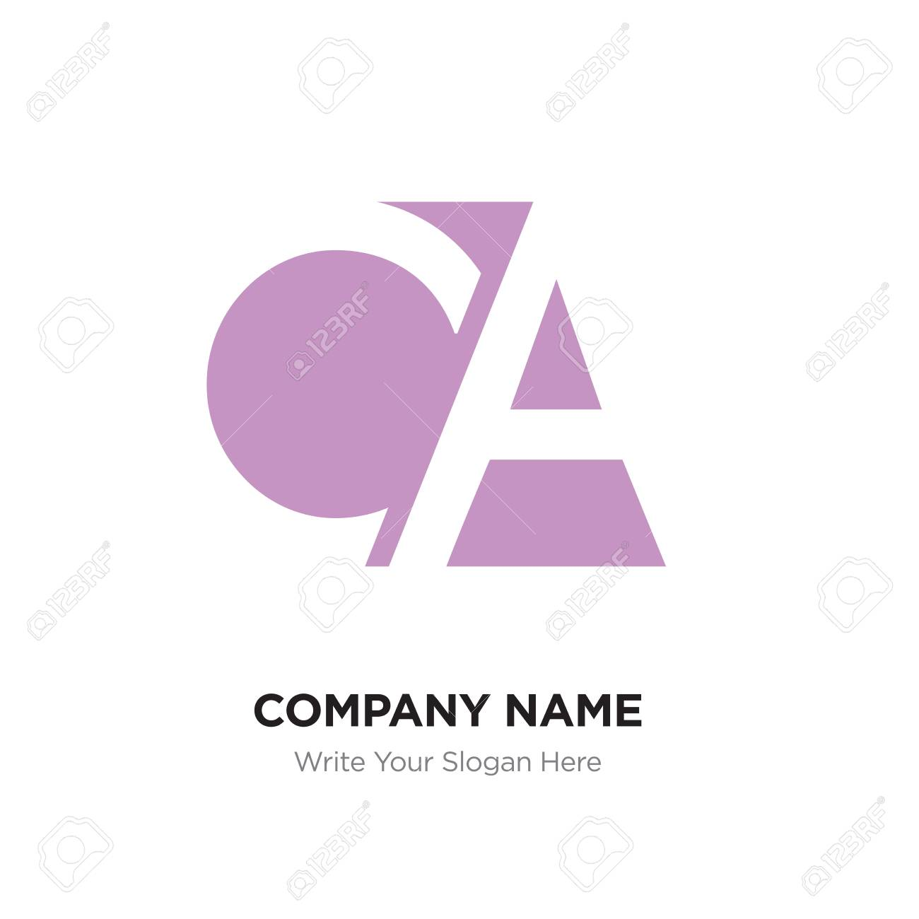 Abstract letter CA AC logo design template, Pink Alphabet initial