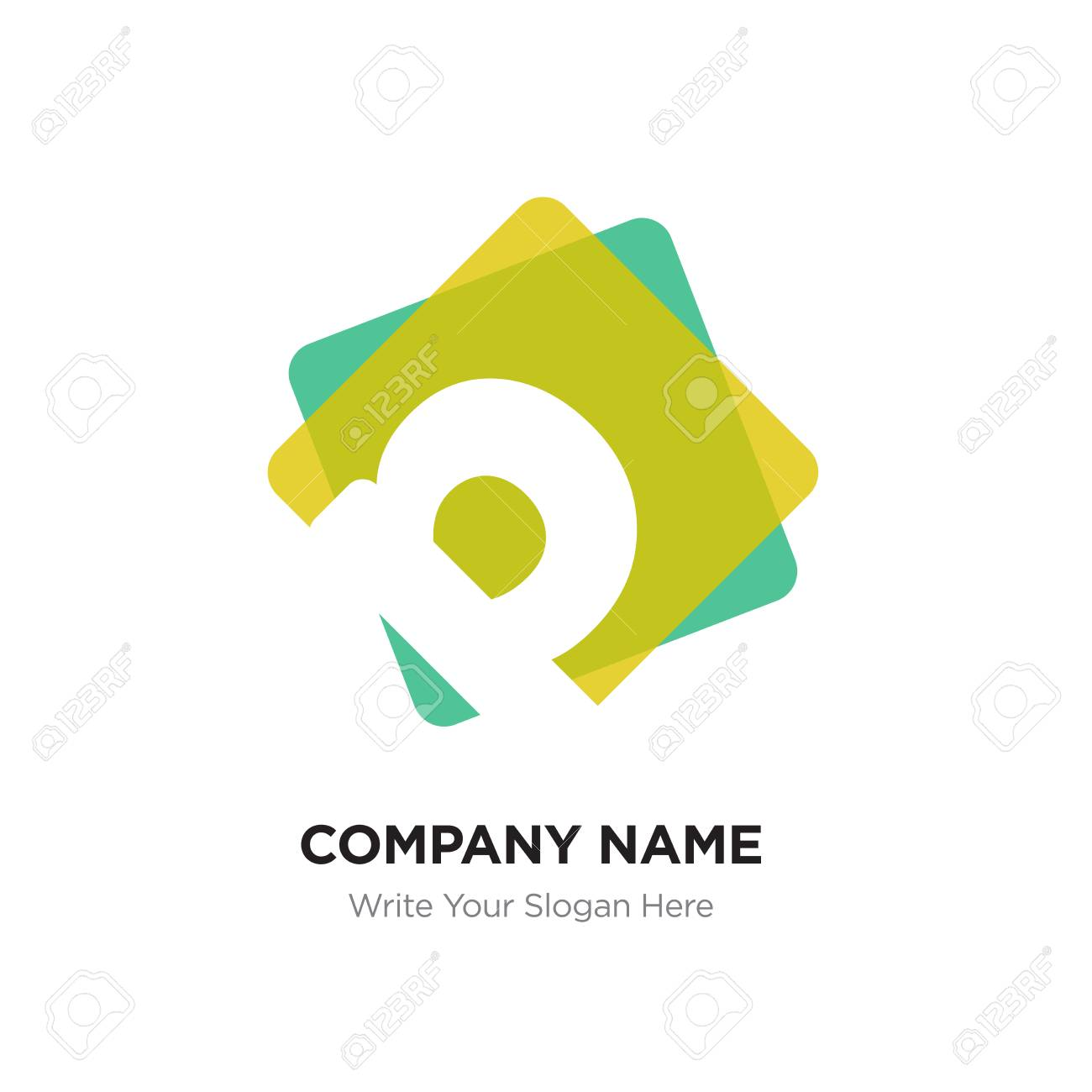 abstract letter p logo design template white vector icon on yellow green background