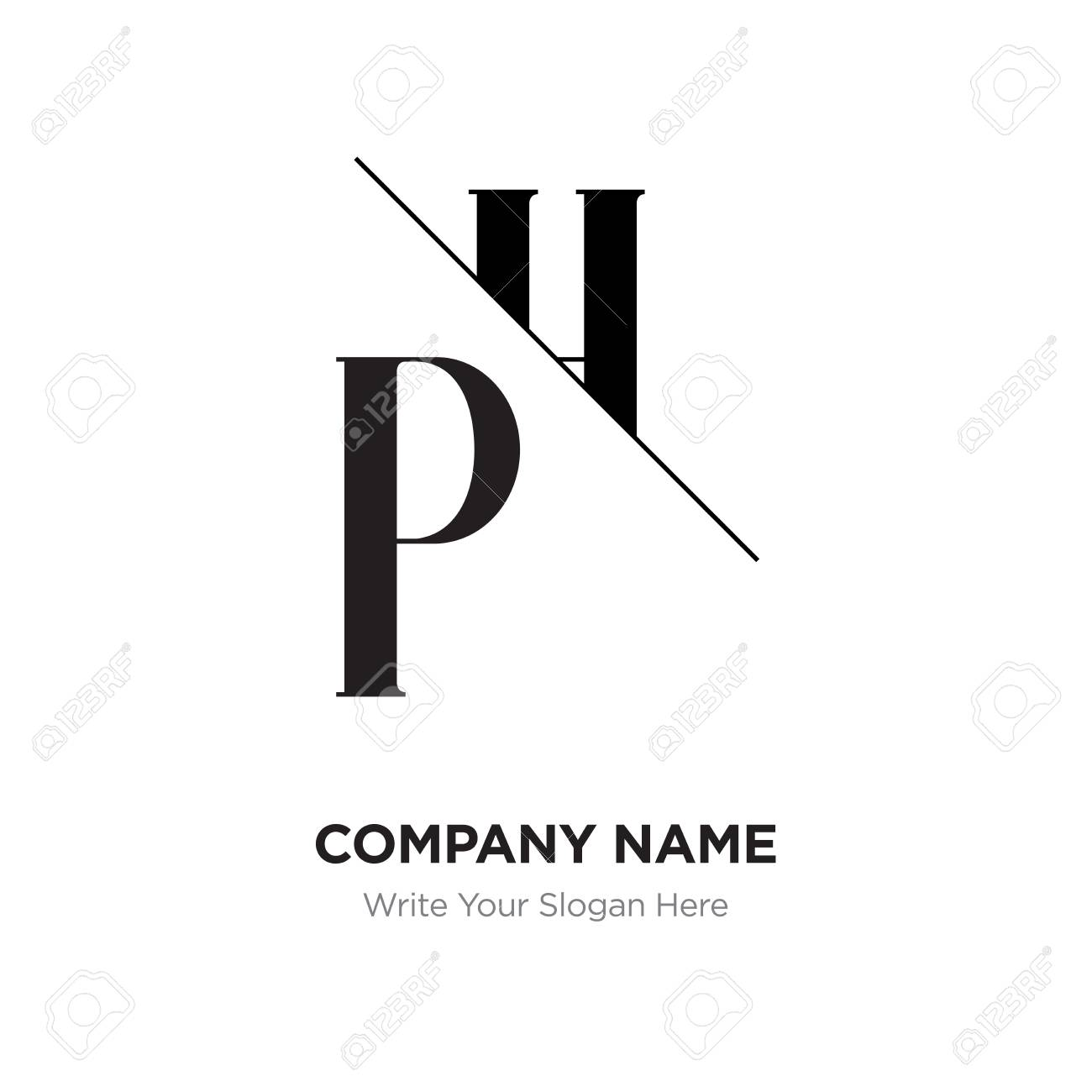 abstract letter ph hp logo design template black white alphabet