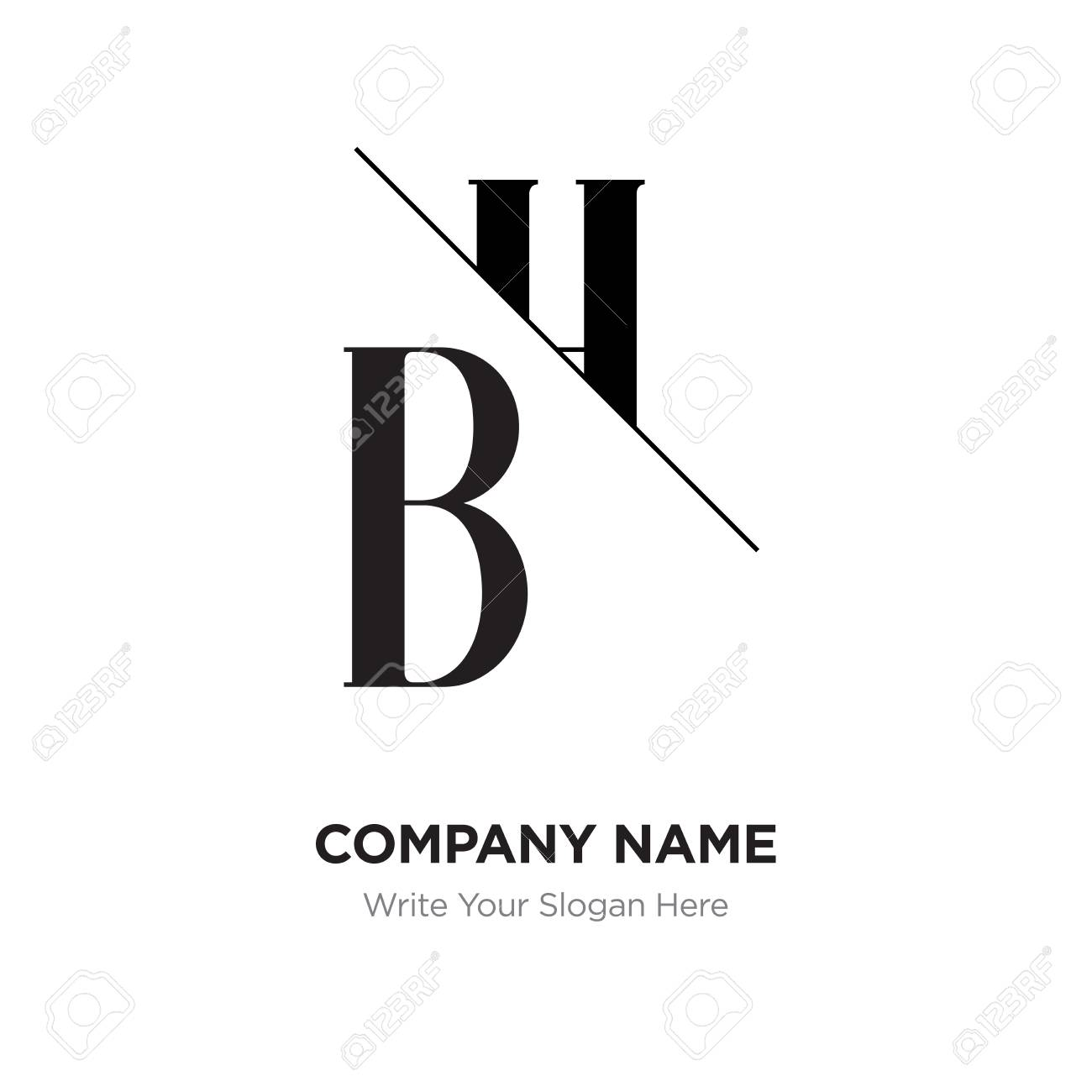 Abstract letter BH,HB logo design template, black&white Alphabet