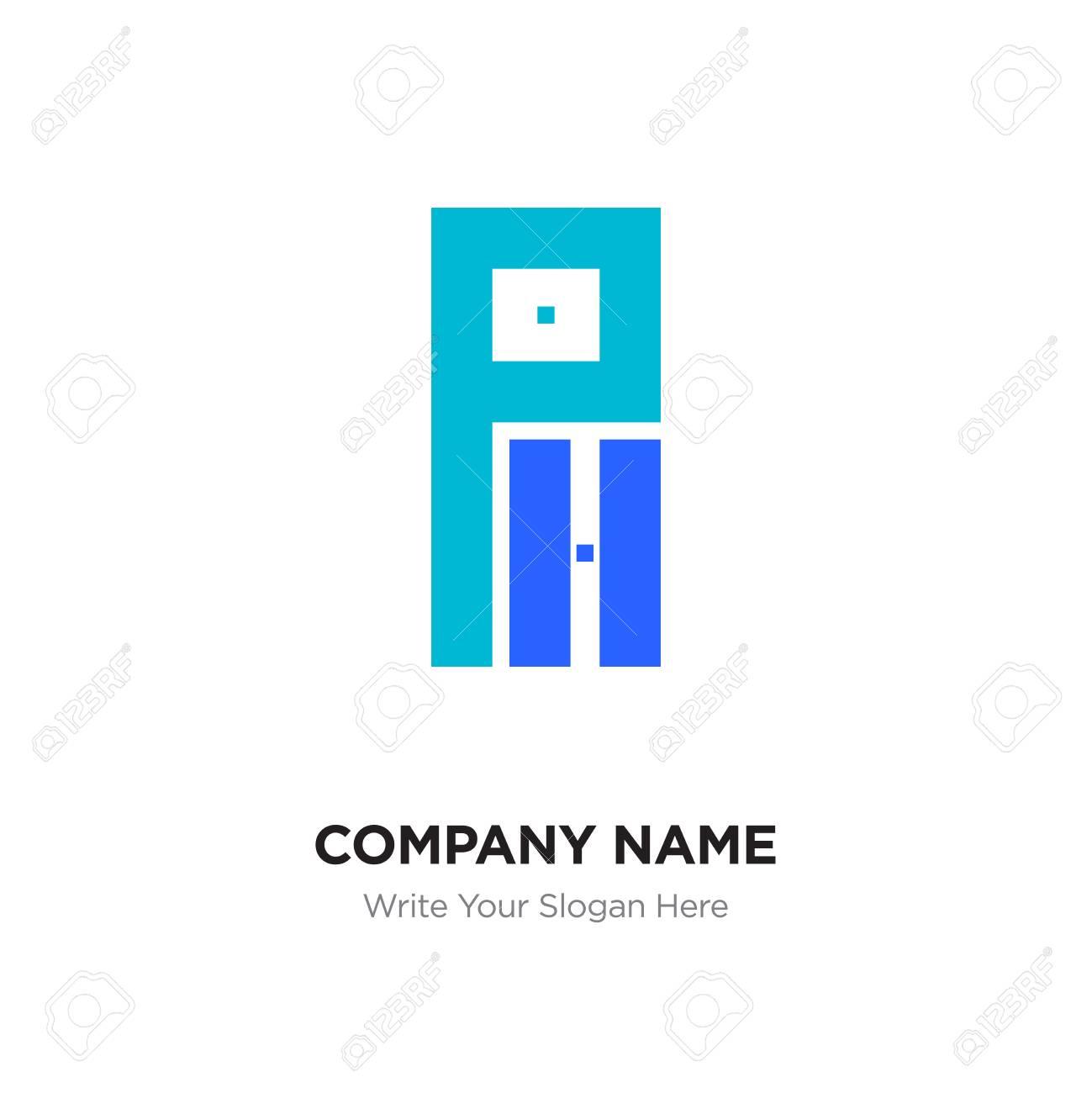 abstract letter ph or hp logo design template black alphabet