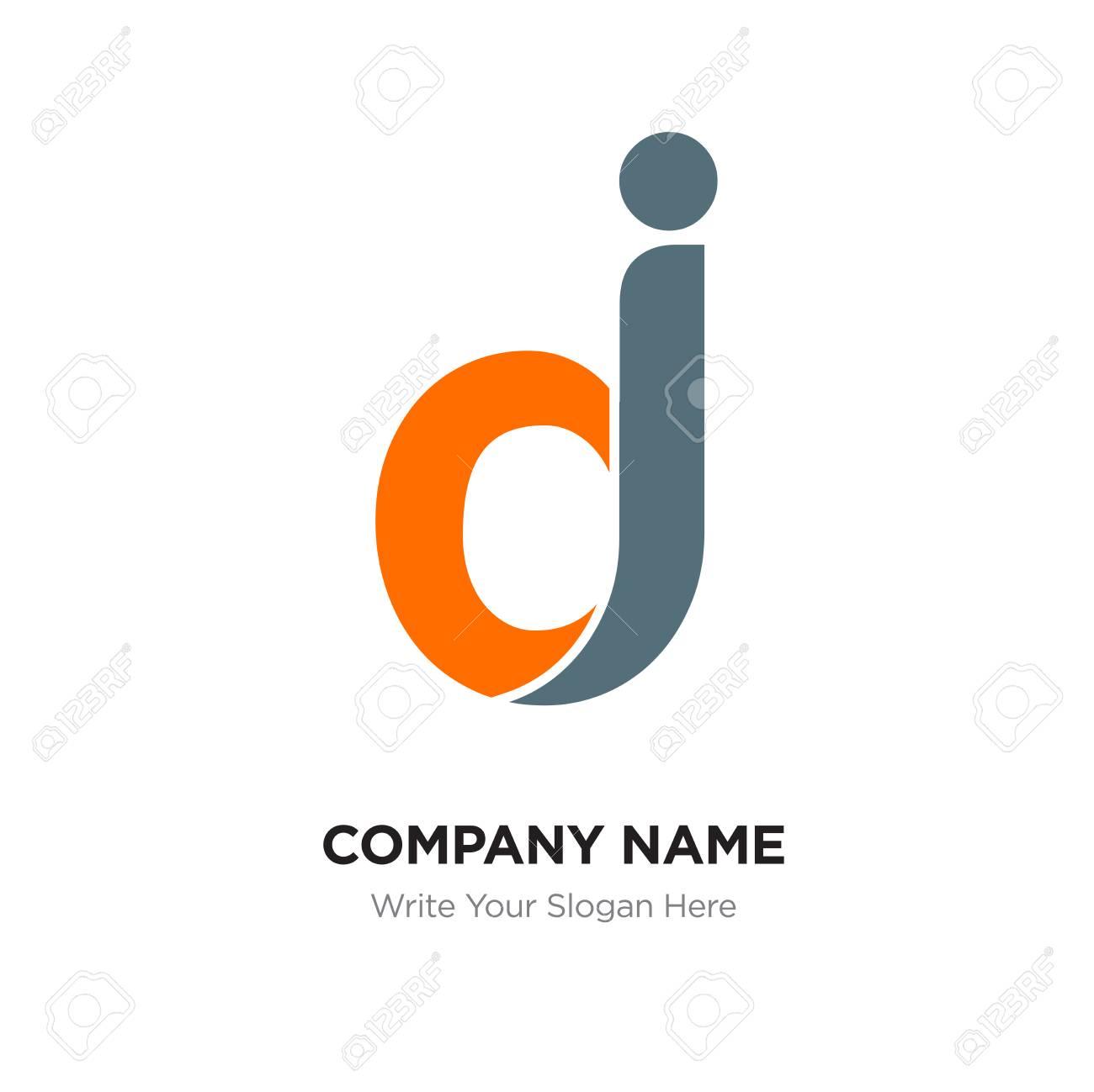 Abstract letter dj logo design template, black and orange Alphabet