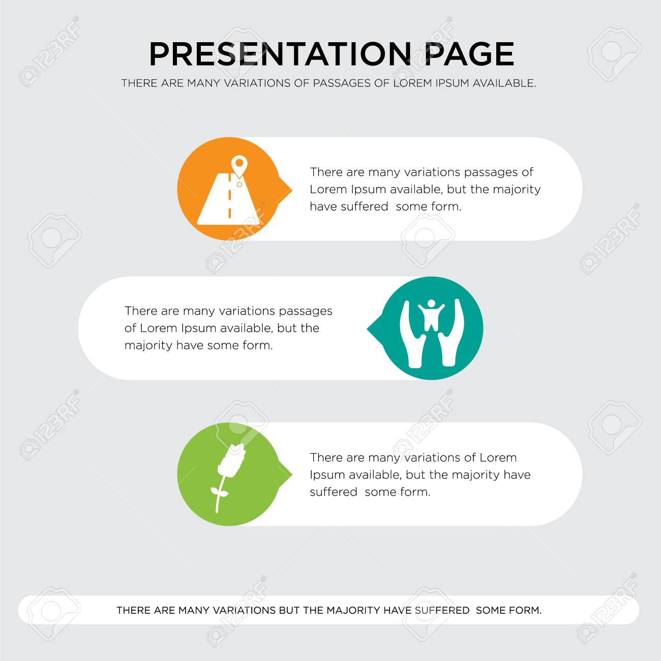 roadmap presentation design template in orange green yellow