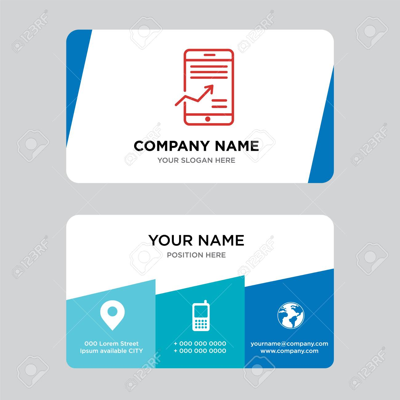 Mobile Stock Data Analysis Business Card Design Template Visiting