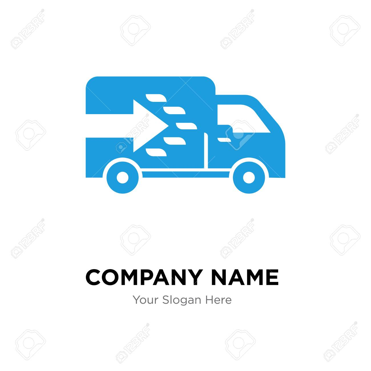Logistics truck company logo design template, Business corporate
