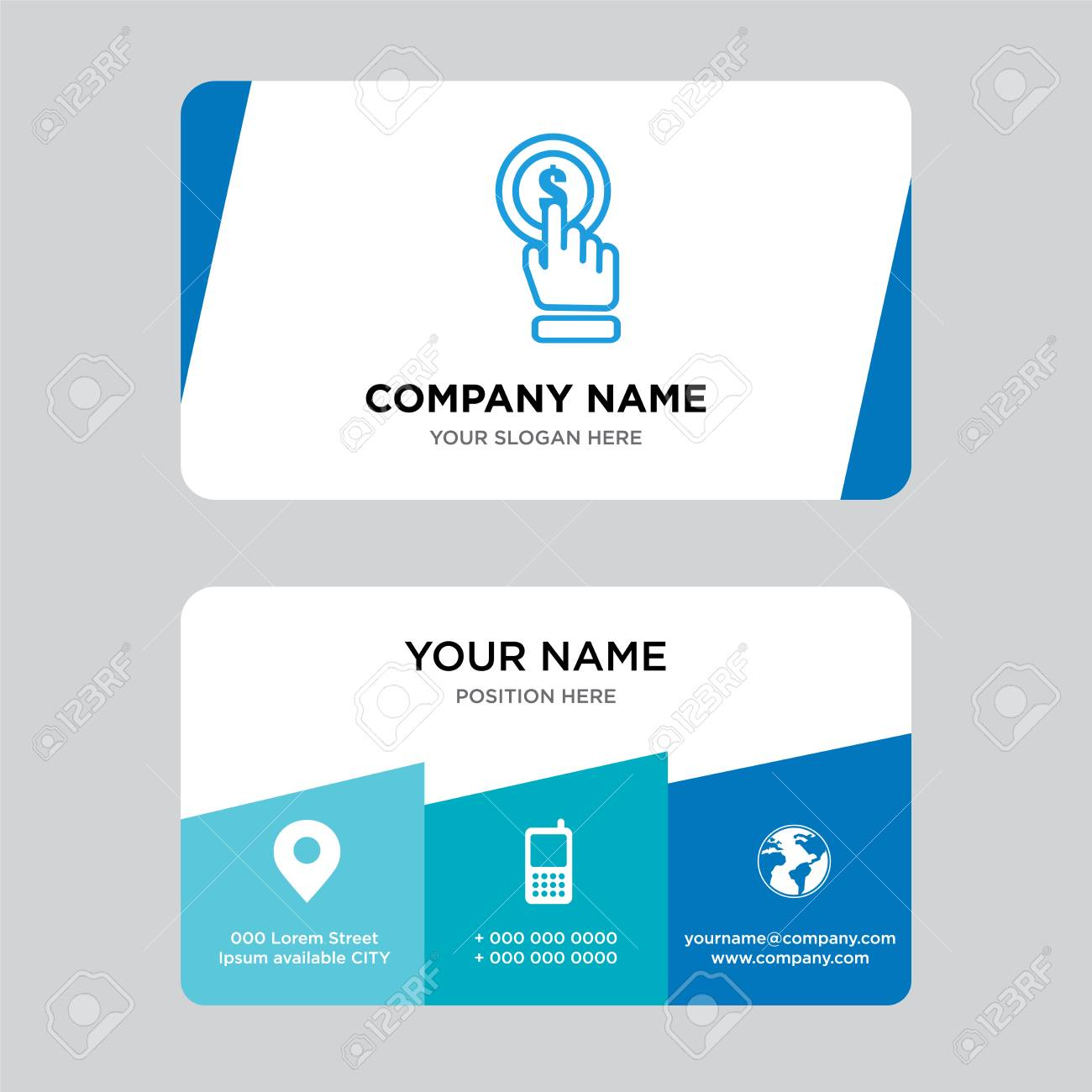 Click business card design template visiting for your company banco de imagens click business card design template visiting for your company modern creative and clean identity card vector illustration reheart Images