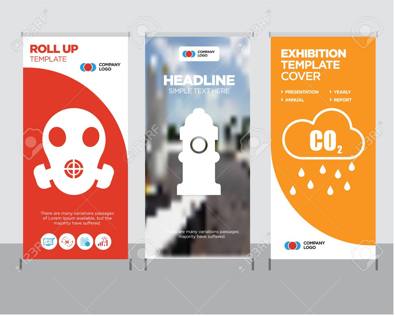 co2 modern business roll up banner design template fire hydrant