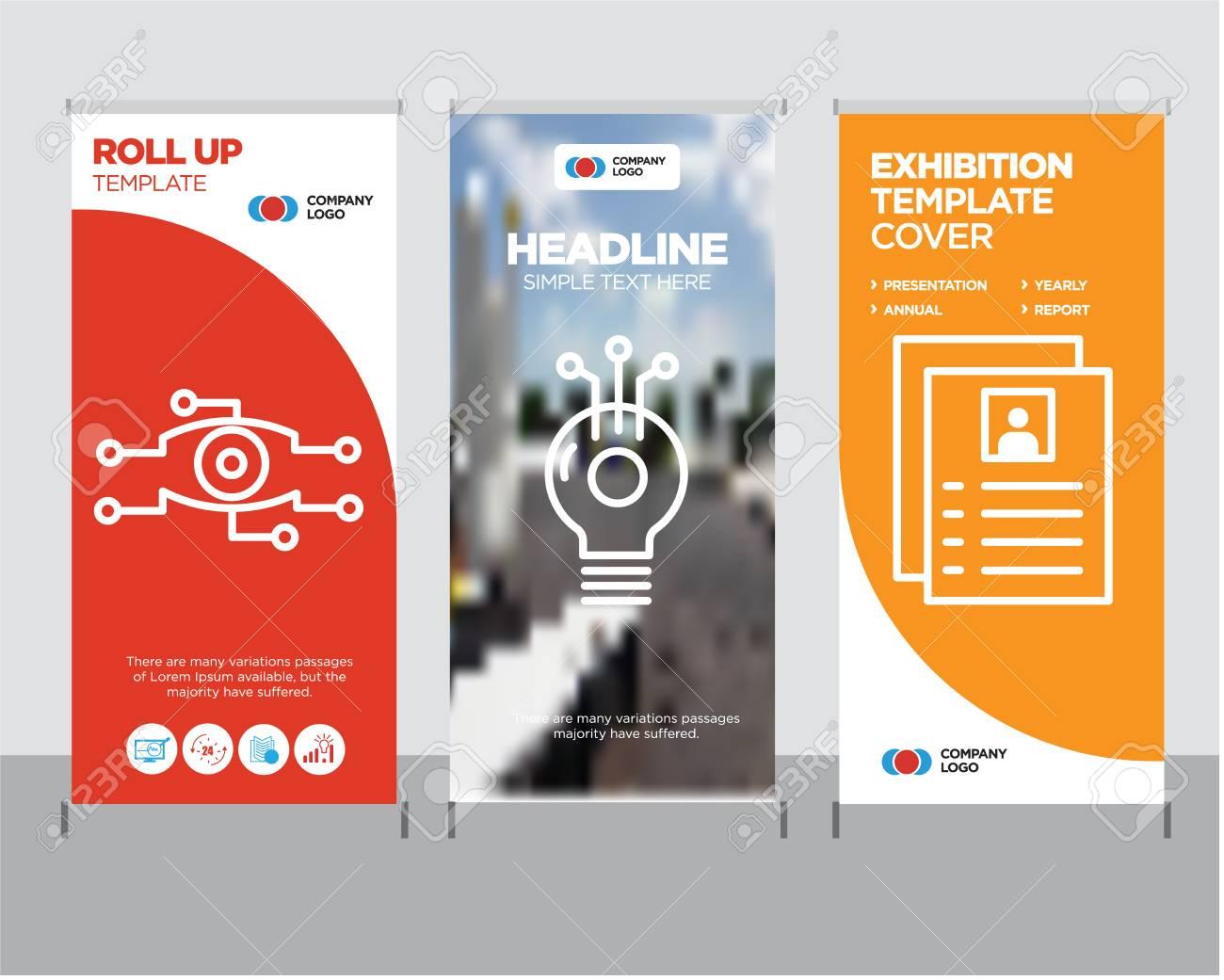 Flyer modern business roll up banner design template, Idea creative