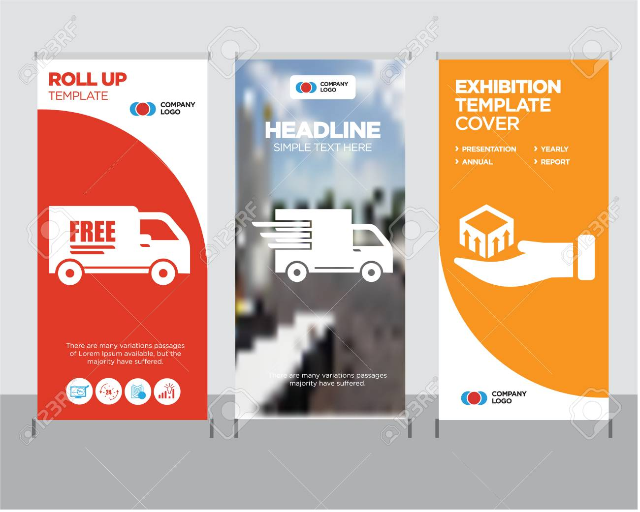 Package delivery in hand modern business roll up banner design template, Logistics delivery truck in movement creative poster stand or brochure concept, Free delivery truck cover publication - 99859902